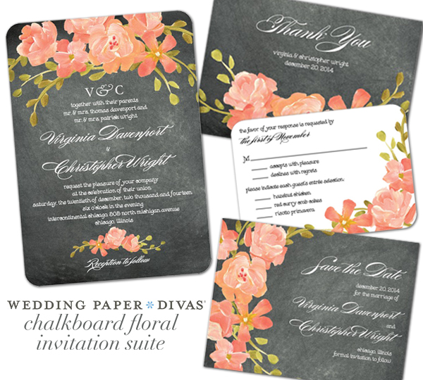 Wedding invitations by wedding paper divas wedding paper divas chalkboard floral junglespirit Choice Image