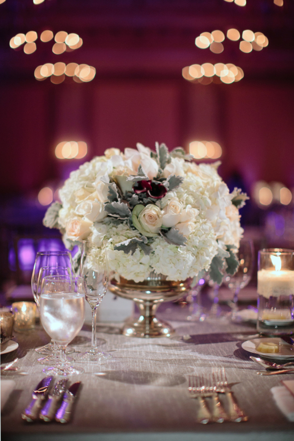 White Hydrangea and Peach Rose Reception Arrangement