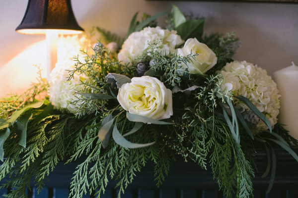 White Rose and Hydrangea Centerpiece With Fern