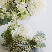 White and Green Garden Wedding Flowers