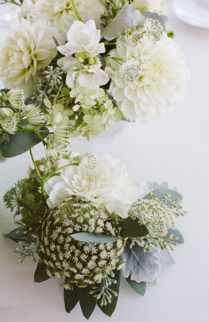 White and Green Garden Wedding Flowers