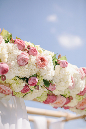 White and Pink Floral Ceremony Arch