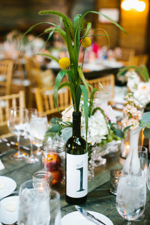 Wine Bottle Reception Table Markers