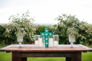 Beachfront Ceremony Table With Mosaic Cross