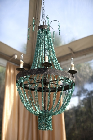 Beaded Turquoise Chandelier Outdoor Reception Decor