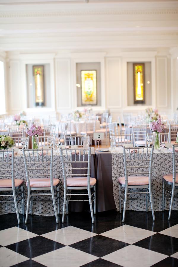 Black and White Checkered Floor Reception Venue
