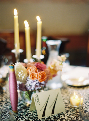 Black and White Reception Table Linens