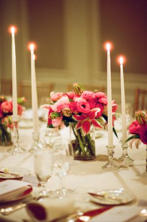 Bold Pink Reception Table Arrangements