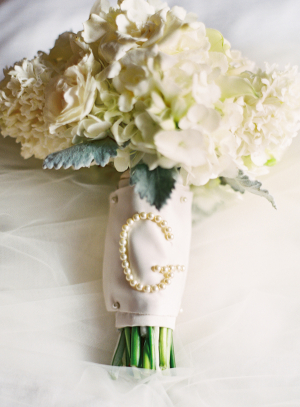 Bridal Bouquet With Pearl Pin Monogram