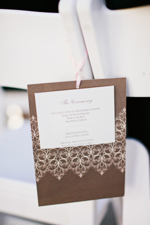 Brown Ceremony Programs With Lace Motif
