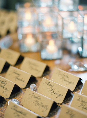Brown Paper Calligraphy Place Cards