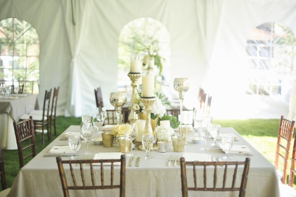 Candles and Mercury Glass Reception Table Decor Ideas
