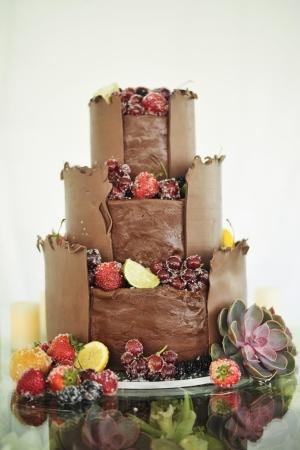 Chocolate and Sugared Fruit Cake