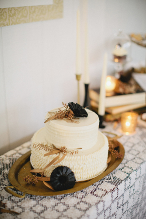 Classic Cake on Vintage Gold Tray