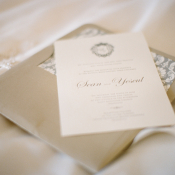 Classic Taupe and Cream Wedding Invitation