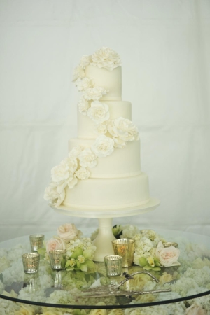Classic Wedding Cake With Cascading Flowers