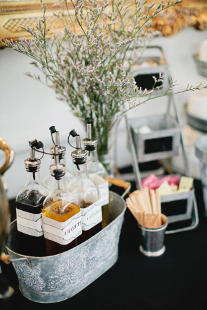 Coffee Syrups in Galvanized Bucket