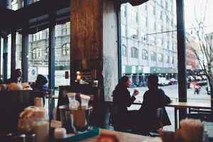 Couple in NYC Coffee Shop