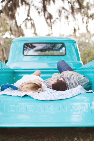 Couple in Turquoise Truck Bed