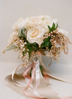 Cream Rose Bouquet With Ribbons