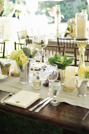 Cream Rose Succulent and Silver Reception Table Decor Ideas