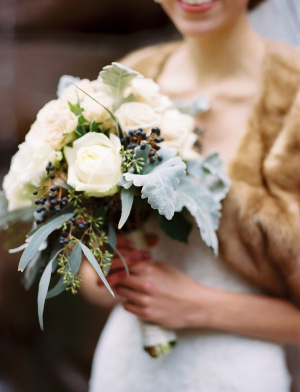 Cream Rose and Dusty Miller Bouquet