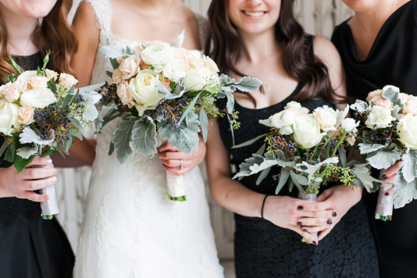Cream and Blush Rose and Dusty Miller Bouquets