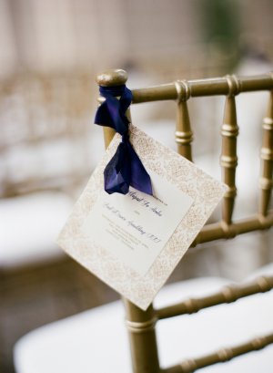 Cream and Taupe Ceremony Programs With Navy Ribbon