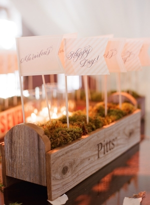 Decorative Paper Flags in Moss Lined Wooden Box