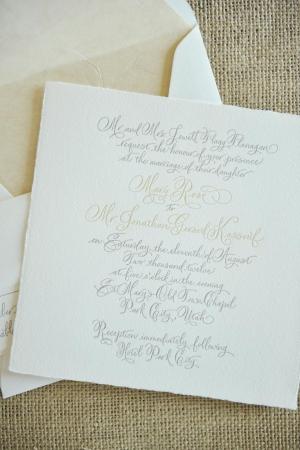 Elegant Calligraphy Letterpress Invitation