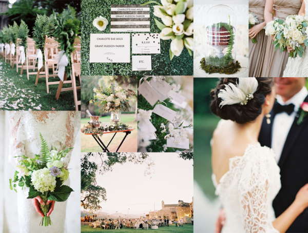 Elegant Emerald Taupe Garden Wedding