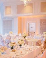 Elegant Peach Pink and Cream Reception Table Decor ideas
