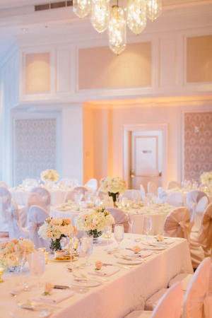 Elegant Peach Pink and Cream Reception Table Decor ideas