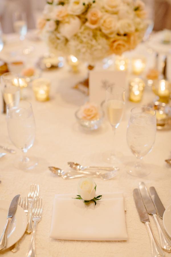 Elegant Peach And Cream Reception Table Decor Ideas