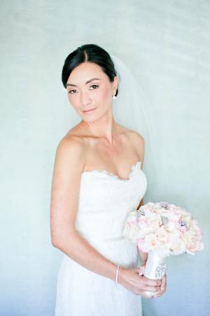 Elegant Strapless Column Style Wedding Gown
