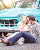 Engagement Portrait With Vintage Pickup Truck