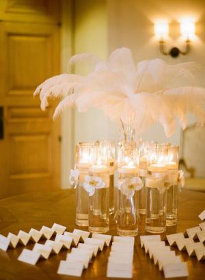 Feather Arrangement in Glass Vase