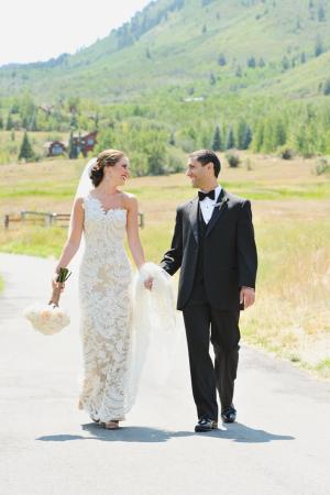 Floor Length Lace Column Wedding Gown