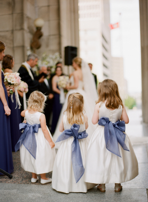 Flower Girl Dresses With Navy Bows