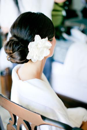 Flower in Bun Bridal Hair Ideas