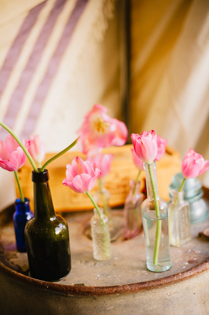 Flowers in Vintage Bottles on Tray