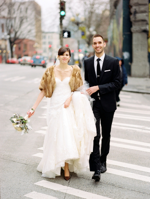 Fur Shrug Over Wedding Gown