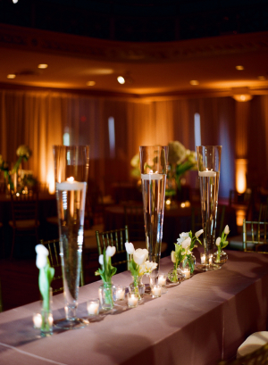 Glass Trumpet Vases With Candles Reception Decor