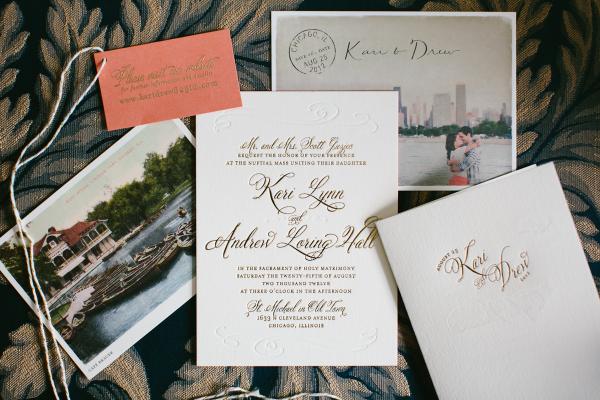 Gold Vintage Wedding Invitations