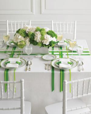 Green White Ribbon Tabletop