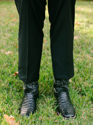 Grooms Black Croc Cowboy Boots