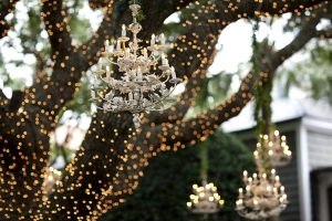 Hanging Chandeliers in Trees Reception Decor