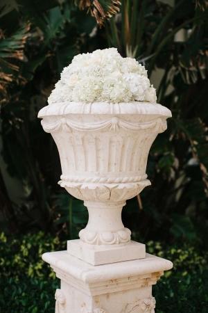 Hydrangea Bouquets in Stone Urn