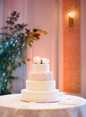 Ivory Wedding Cake With Pink Daisy Sugar Flowers