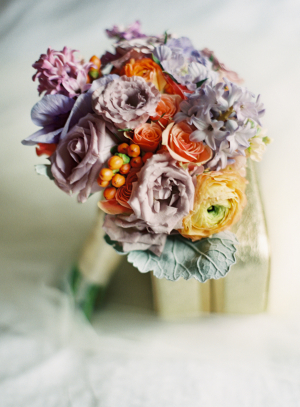 Lavender Peach and Yellow Bouquet With Berries